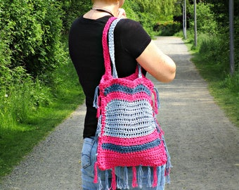 Crochet tote bag Pink blue bag Crochet beach bag Pink market bag handmade bag hand knitted bag Pink bag with fringe boho bag eco bag for her