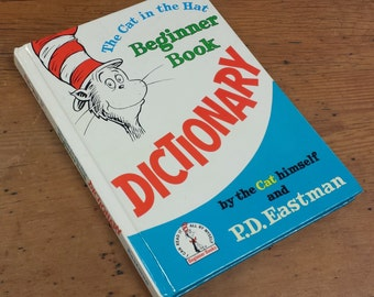 1964 The Cat in the Hat Beginner Book DICTIONARY, Dr. Seuss ~ Over sized Hardcover Book by Random House