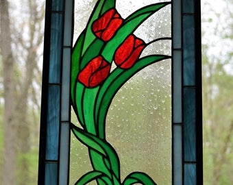 Stained glass panel of three red tulips with blue borders 17 x 9
