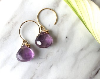 Healing Amethyst natural gemstone 14kgf gold earring