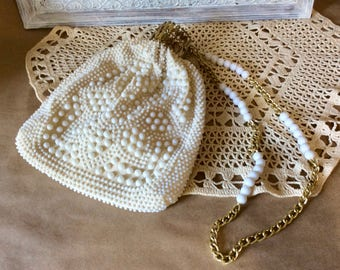 1950s Creamy Ivory Corde Bead Bag with Gold Tone Accordion Expandable Opening - Authentic Vintage Purse - Vintage Wedding Bridal Accessory,