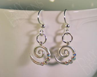 Spiral Aurora Borealis Crystal Earrings