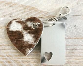Learn heart Keychain (5 cm) of cowhide.