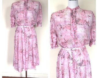 VINTAGE Pretty in Pink summer 1980's Dress * Size:12+