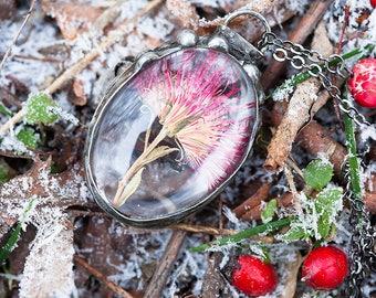 Pressed Red Flower Botanical Tiffany Soldered Necklace, Herbarium Boho Nature Jewelry, Vintage Old Style Flower Glass Pendant, Terrarium