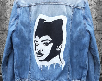 Made To Order Rihanna Inspired Hand Painted Denim Jacket