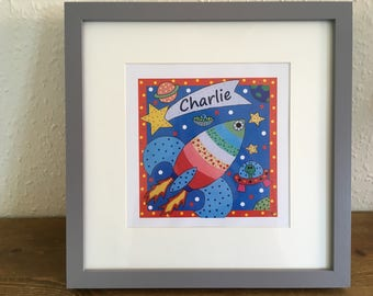 Space rocket nursery print