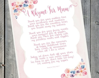 Gifts for Mum | Mothers Day Print  | Mum Gift | Mother of the Groom | Mum Birthday | Mothers Birthday | Mothers Day | Mothers Day Sign