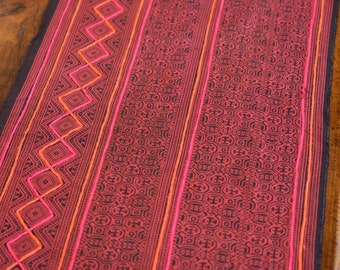 2YD Vintage Hmong textiles embroidered batik fabric cotton handmade table runner#12