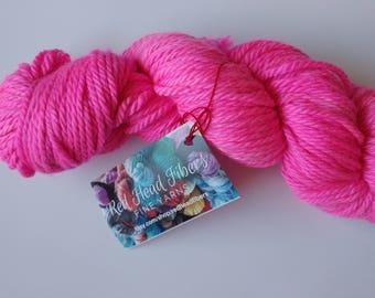 Hand dyed yarn, 100g Bulky weight, Superwash merino, hot pink, Ready to ship, Resist