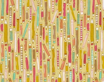 Erin McMorris Doodle Pencil Mustard Yellow Pencils Cotton Fabric from the Noteworthy Collection by Free Spirit Fabrics