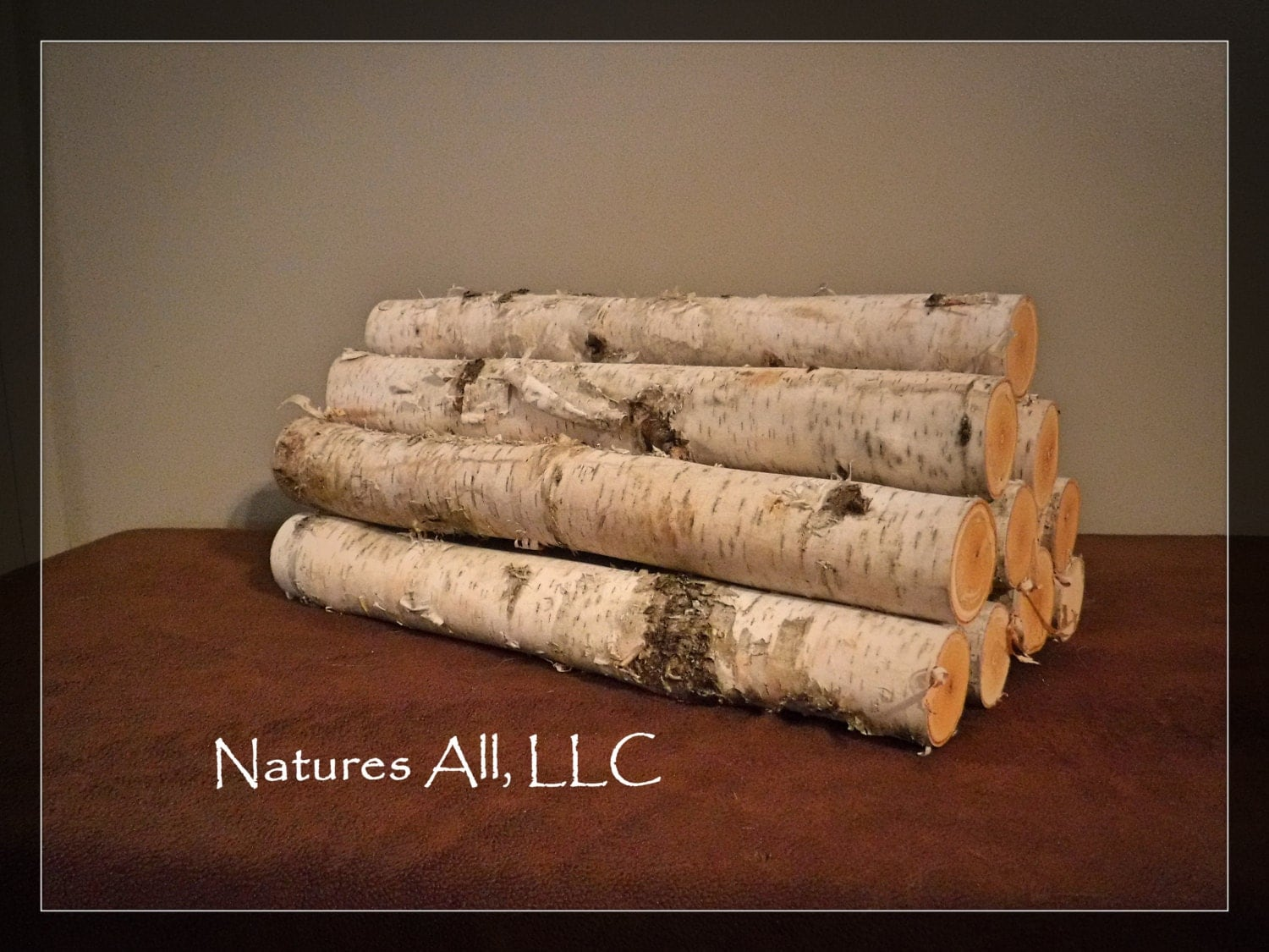 Decorative White Birch Fireplace Logs 10 Piece Set 16 Inch