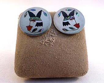 Edaakie Zuni Sterling Mosaic Hummingbird Earrings