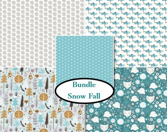 5 prints, Snow Fall, Camelot Fabric, tide, 1 of each print
