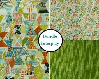 3 Prints, Interplay,  by Nancy Heffron, P & B Textiles, Bundle, 1 of each print