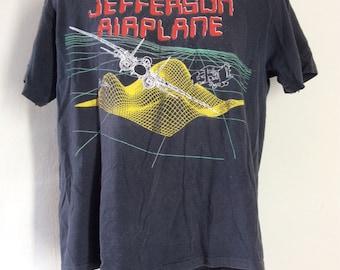 Vtg 1989 Jefferson Airplane Reunion Tour Concert T-Shirt Black L/XL 80s Classic Rock Pop