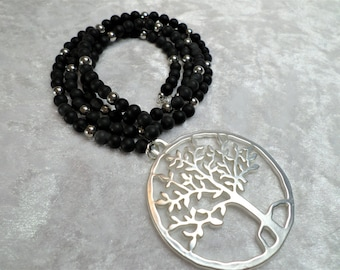 Handmade beaded necklace made of Onyx Black mat, tree of life pendant