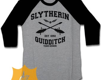 Slytherin Shirt Slytherin Quidditch Shirt 3/4 Shirt Raglan Slytherin Quidditch Team Seeker Shirt For Men and Women Adult Unisex SLYTHERIN-1