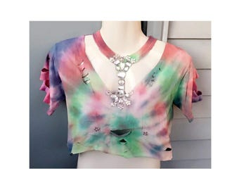 Reworked Upcycled Tye Dye Crop too with Jewel embellishments open front