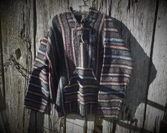 Vintage 90s Baja pullover hoodie XL surf poncho mexican hoodie drug rug boho hippy festival grunge revival stripped woven street wear