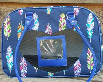 Navy Feather Pet Carrier - Personalized/Monogrammed