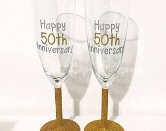 50th Golden Wedding Anniversary Glitter Champagne Glass Set