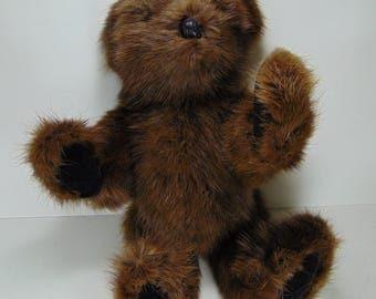 Handmade Muskrat Teddy Bear From Re-Purposed Vintage Fur Coat