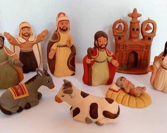 Vintage terracotta Peruvian nativity scene Southwest nativity scene made in Peru nativity scene