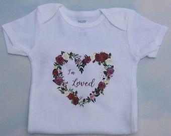 Baby Bodysuit, Flowered Heart Baby Bodysuit, I'm Loved Baby Bodysuit