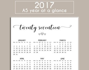 PRINTABLE 2017 Year at a Glance Calendar Stickers MONDAY