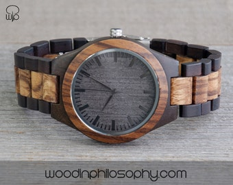 Wood Watch Black Walnut Zebrawood | Engraved Wood Watch | Personalized All Wood Watch For Men | Best Gift | Gift For Him | Best Gift For Men