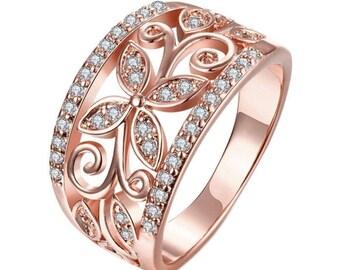 8K Rose Gold Filled Rhinestone Crystal CZ Zircon Gem Flower Ring Size 7