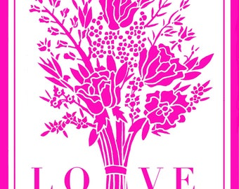 Love Floral Bouquet Greeting Card