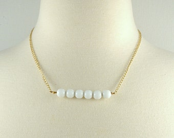 White or Black beaded bar necklace on gold or silver chain