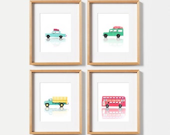Boy nursery decor, Gallery wall art, PRINTABLE art, Boys room wall art, Vintage car decor, Nursery prints, Boys room decor, Kids room art