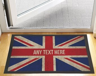"""24 X 16 """" Custom Text Grunge Union Jack Design Entrance Door Mat Non Slip Advertising Tool For Home Or Business"""