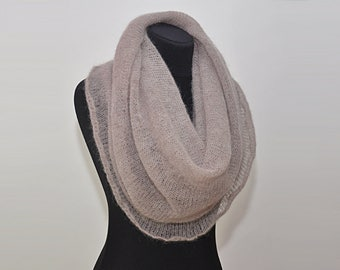 Beige mohair infinity scarf knit mohair shawl knit circle scarf hand knit cowl mohair beige cowl (sold only a scarf, pin sold separately)