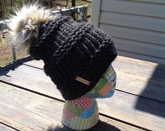 Winter Fall beanie hat pom pom Charcoal