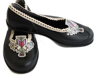 Black Women Shoes, Wife Gift Shoes, Embroidered Shoes, Black Barefoot Shoes, Folk Art Shoes, Goth Shoes, Steampunk Shoes, Rustic Shoes