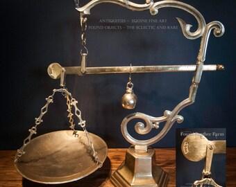 Fabulous Rare Antique Tuscan Cast Brass Balance Scale