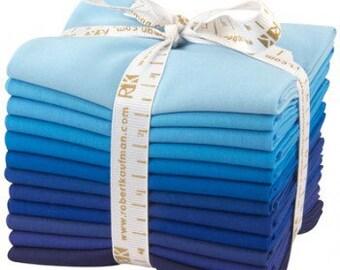 "Kona Cotton Fat Quarter Bundle ""Sky Glazer"" by Robert Kaufman -12 different fat quarters shades of blue to indigo."