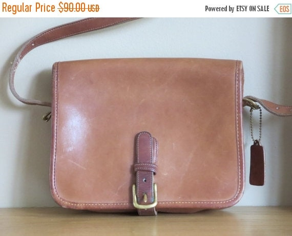 Football Days Sale Rare NYC Coach British Tan Leather Medium Saddle Pouch - Made in New York City U.S.A.- Vgc- Nice Bag