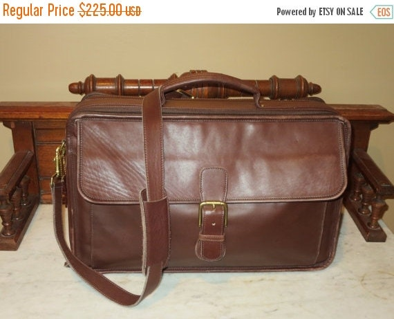 Football Days Sale Coach Double Zip Organizer Mahogany Leather Briefcase Attache Laptop IPad Carrier- Coach Style # 0537