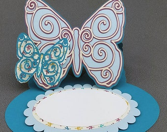 Handmade Aqua Blue and Maroon Butterfly Easel Card