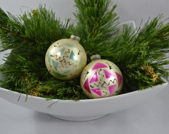 Vintage Hand Painted Glass Ball Christmas Ornament Marked West Germany DBGM