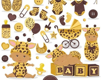 80% OFF SALE African American baby shower clipart baby bee
