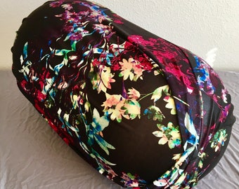 Peanut Ball Cover with Handle, Exercise/Yoga Ball Cover, Birthing Peanut Ball Cover, Ball Cover - BLACK FLORAL PEANUT