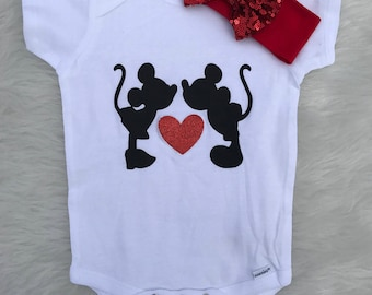 Mickey and Minnie Mouse Disney onesie/shirt