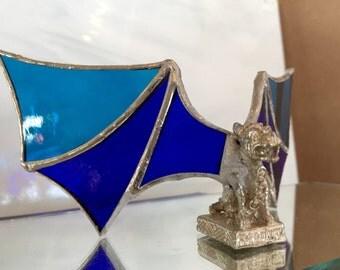 Blue glass gargoyle, gargoyle sculpture, glass art, artifex5, metal gargoyle,