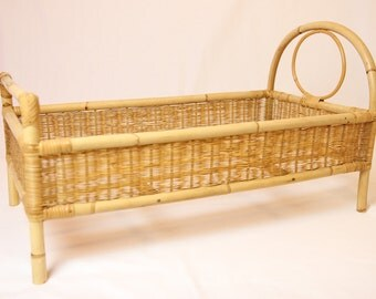 Bamboo doll bed and vintage wicker, doll crib, doll bed